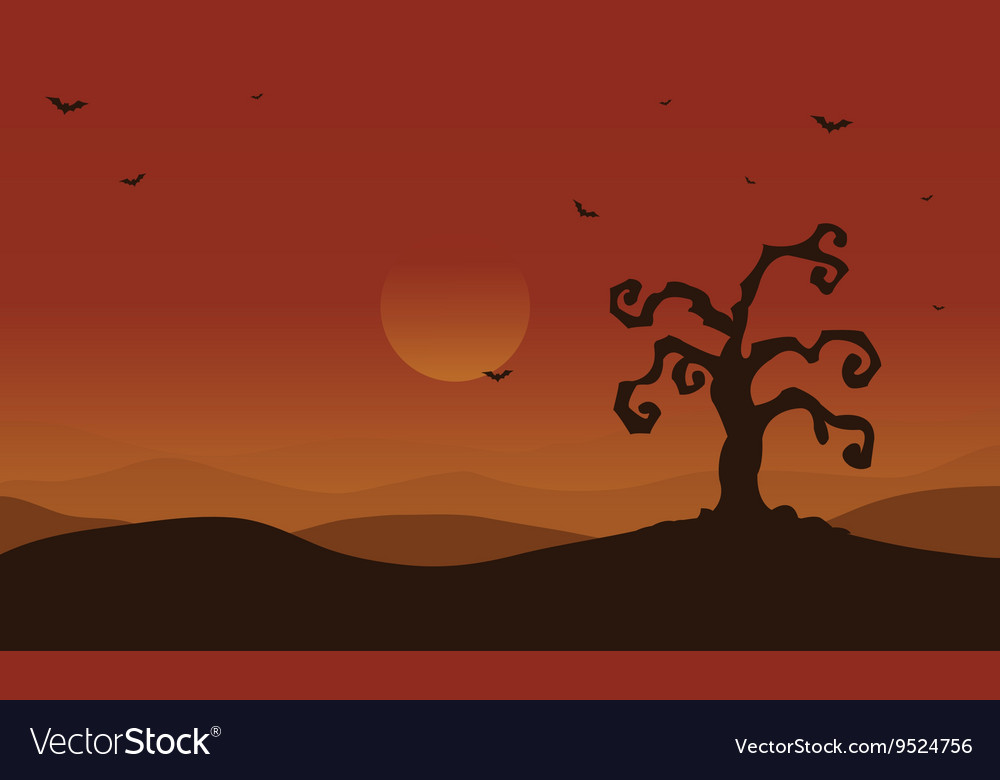 Scenery dry tree and bat at afternoon Halloween vector image