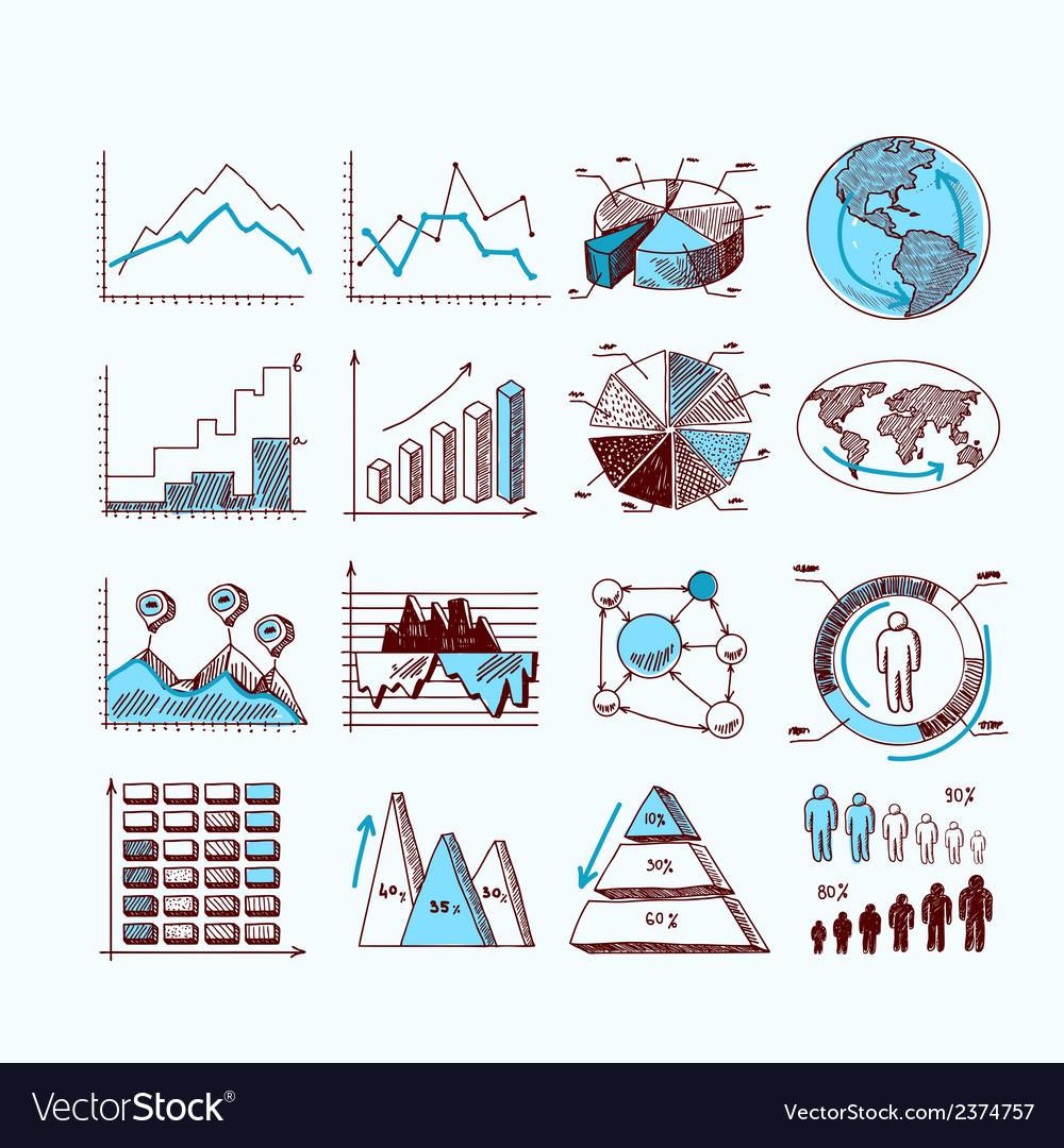 Sketch business diagram vector image
