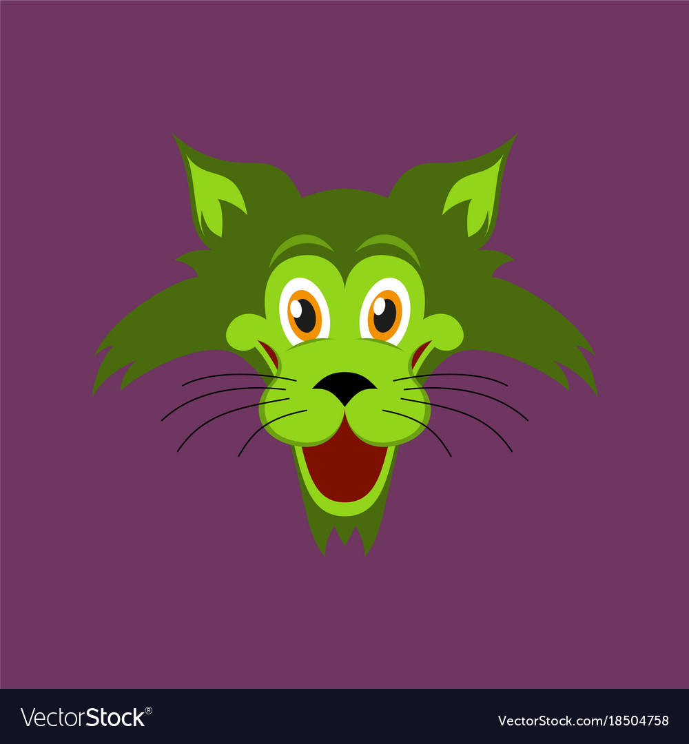Flat icons on theme funny animals cat