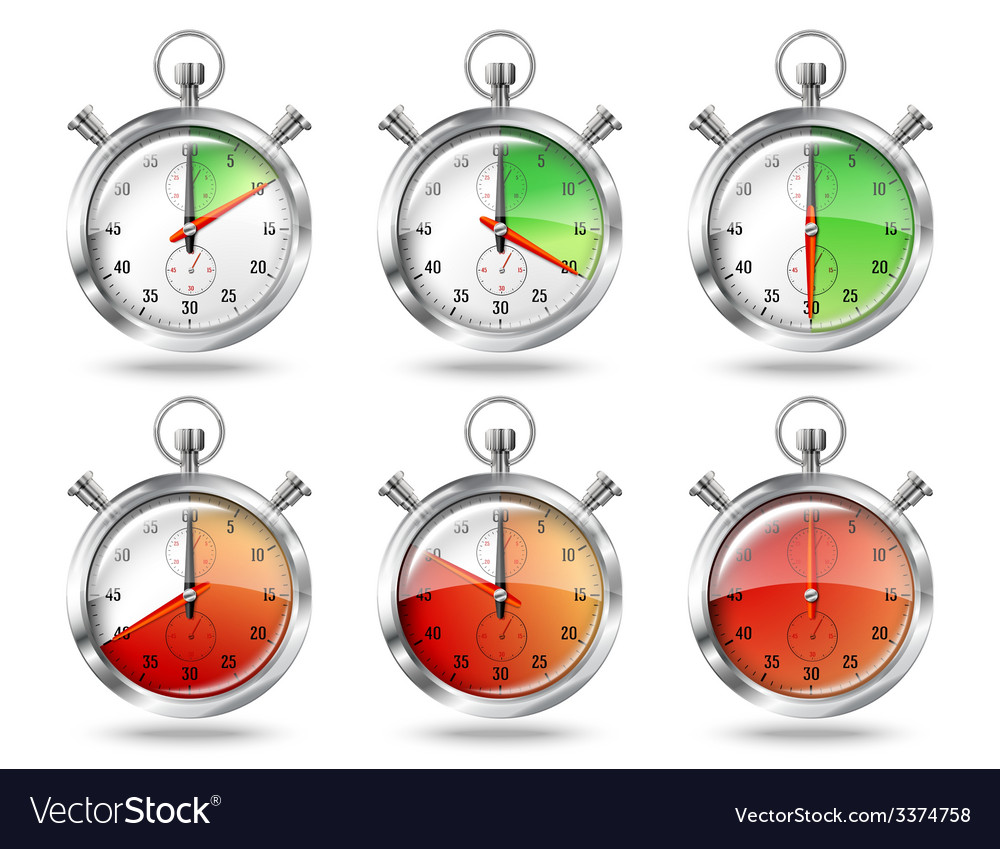 Set of silver bright stopwatch clock intervals vector image