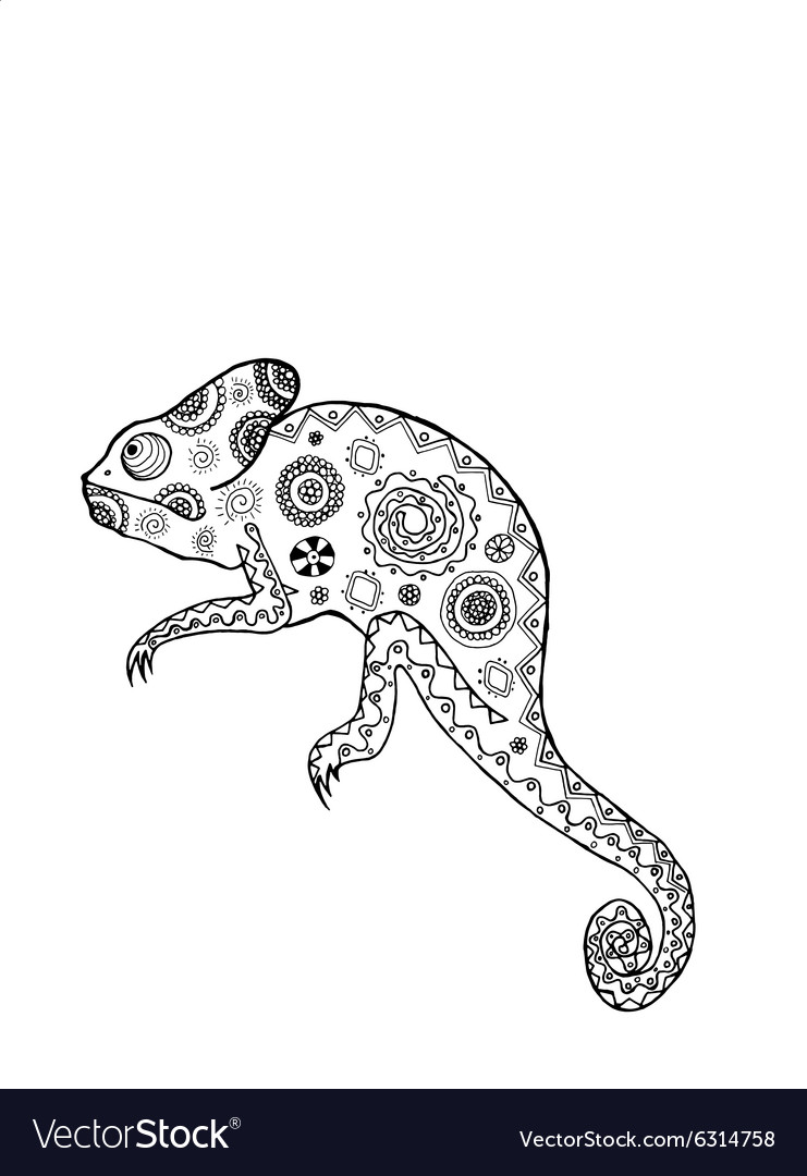 Zentangle stylized chameleon vector image