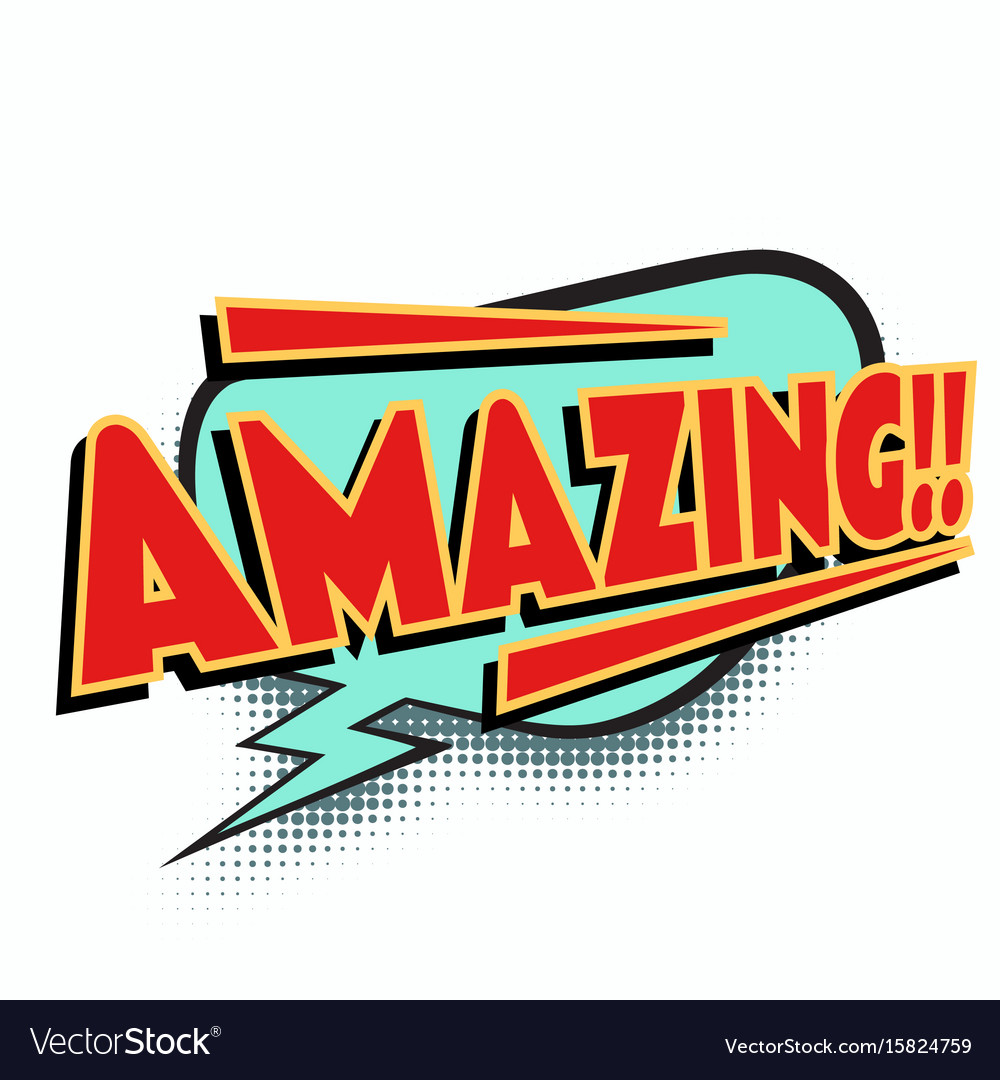 Amazing comic word vector image