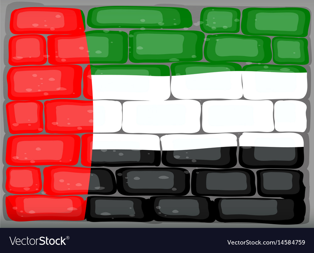 Arab emirates flag on the wall vector image