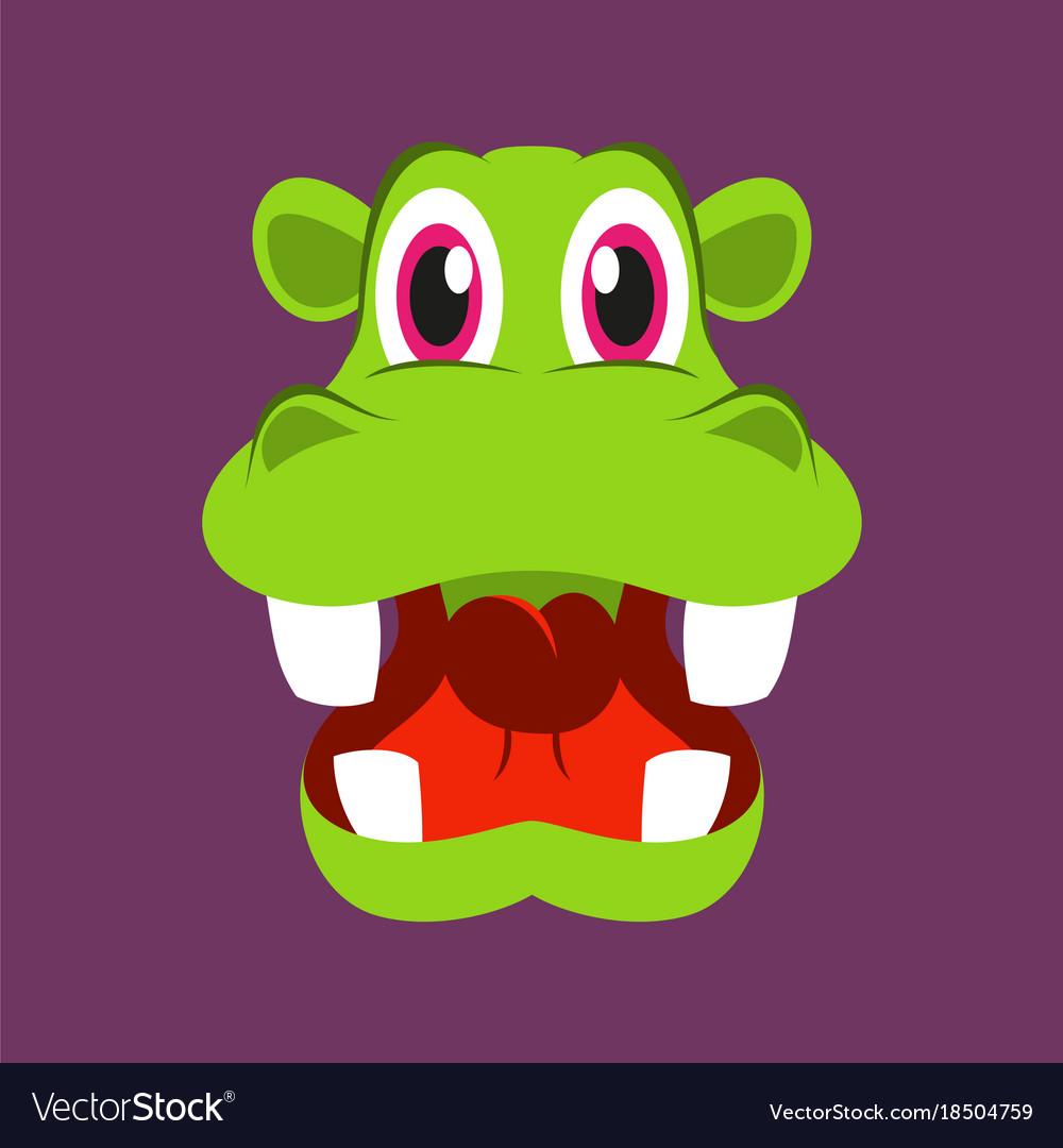 cute face hippo animal cheerful