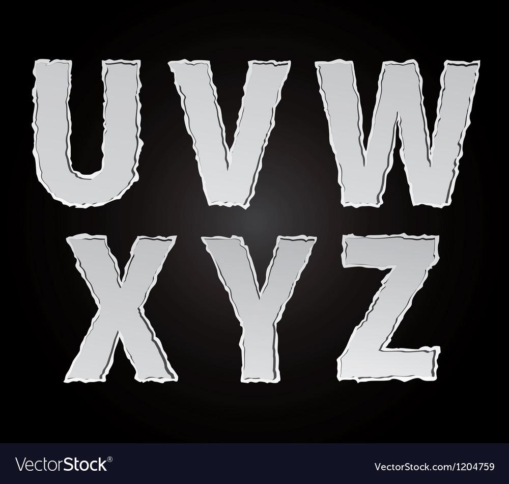 Paper alphabet part 4 vector image