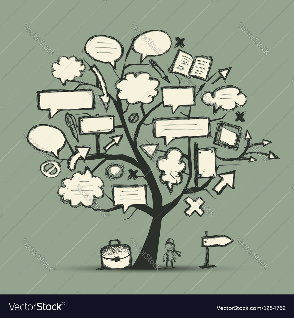 Sketch of tree with arrows and frames for your vector image