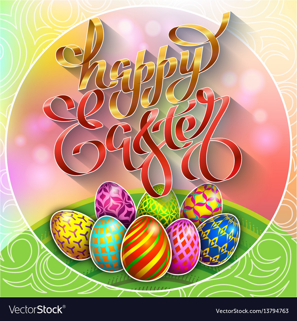 Multi colored easter eggs on a green lawn with vector image