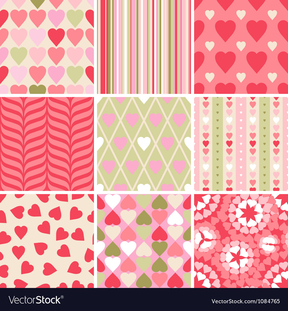 Set of 9 Valentines Day heart patterns vector image