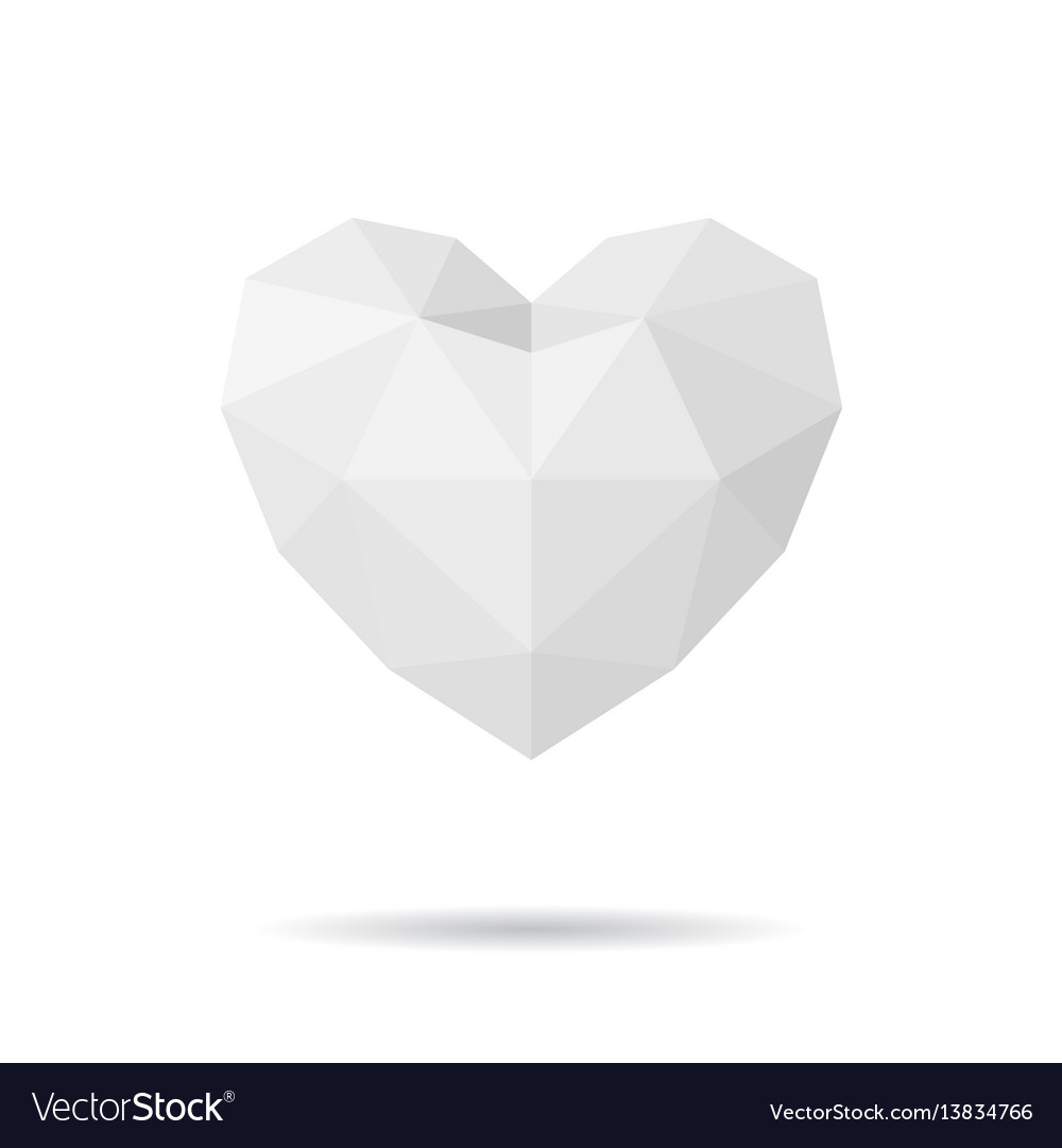 Paper polygon heart vector image