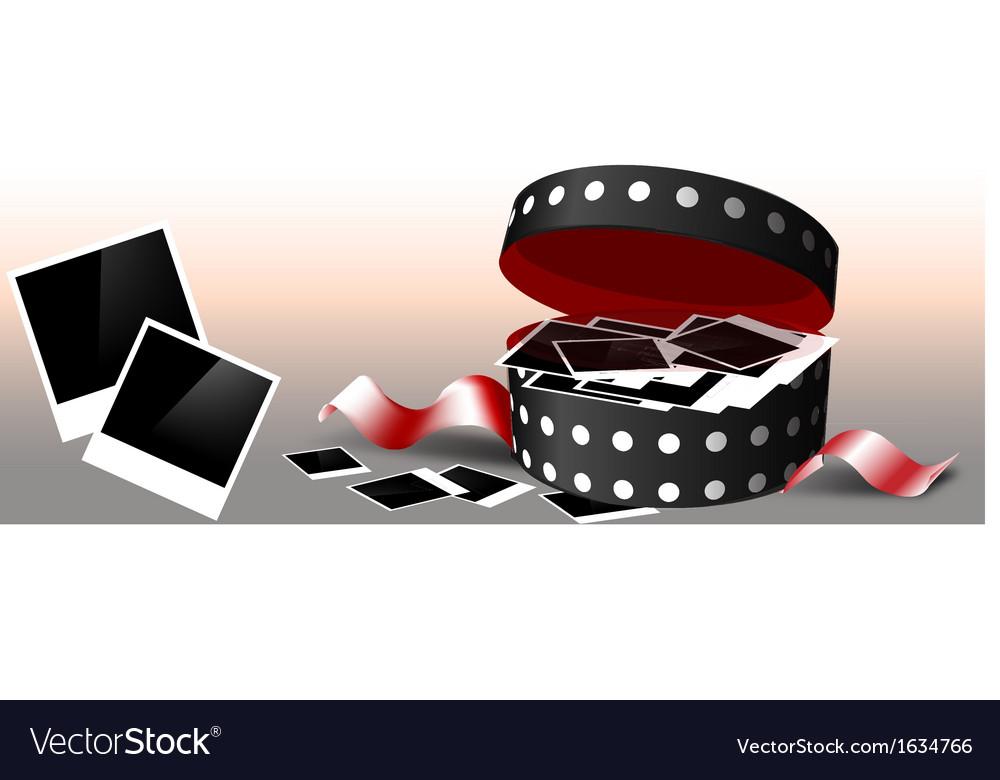 Valentines day polaroids in box vector image
