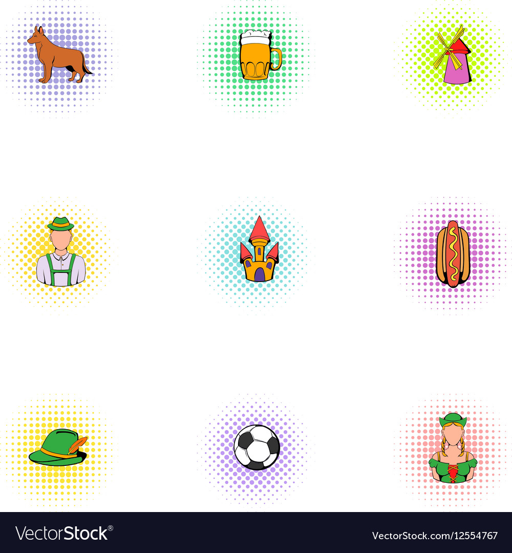 Beer festival icons set pop-art style vector image