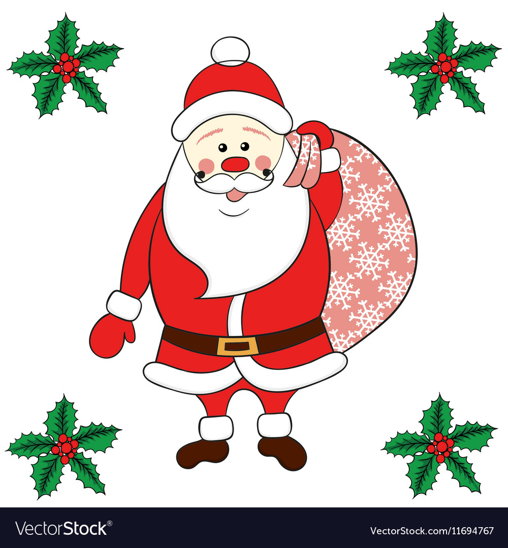 Santa Claus carrying sack vector image