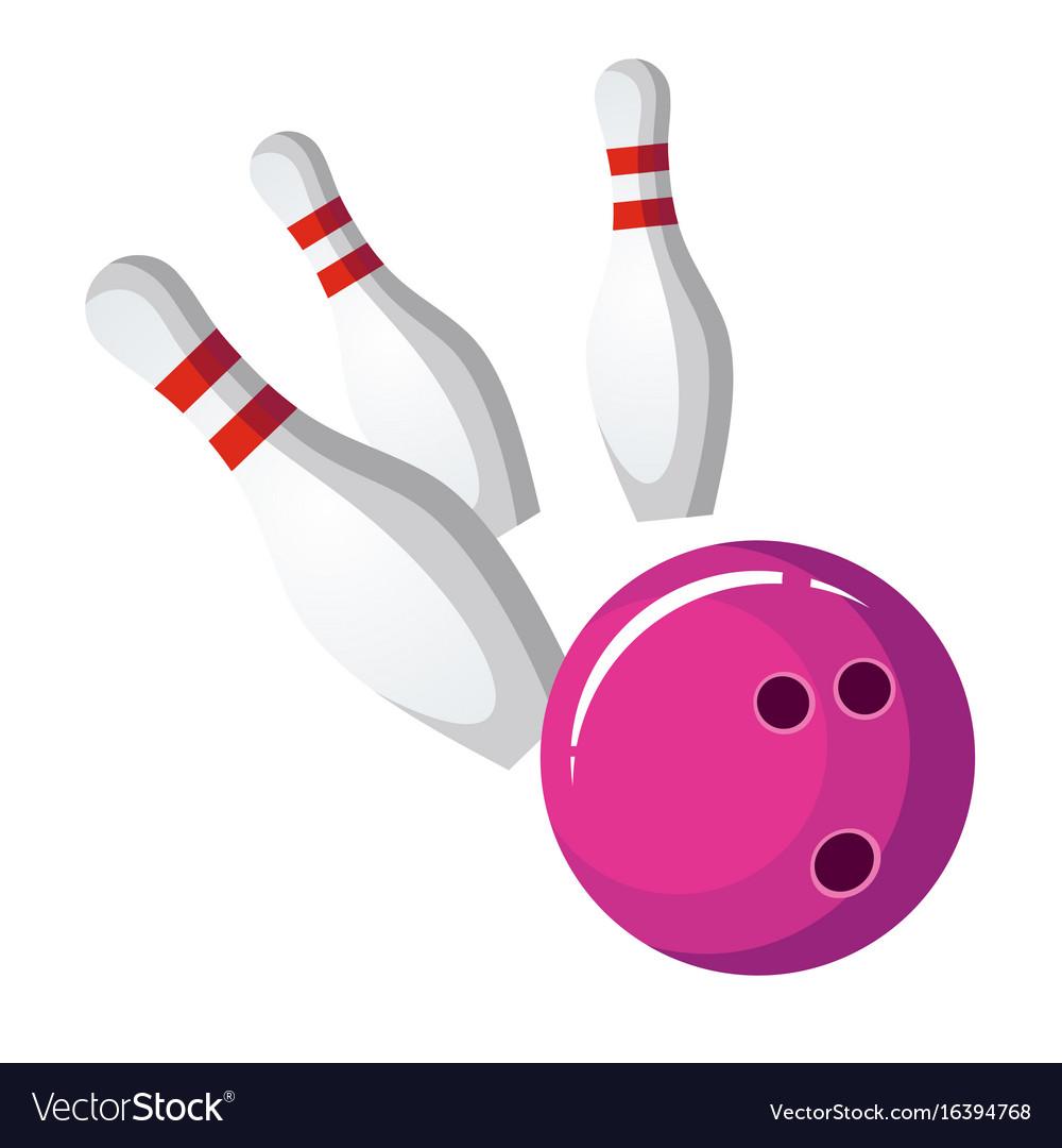 Bowling ball crash the pins vector image