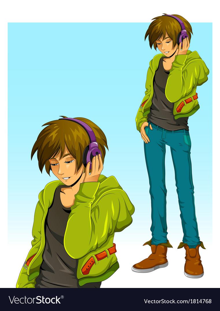 Boy with headphones vector image