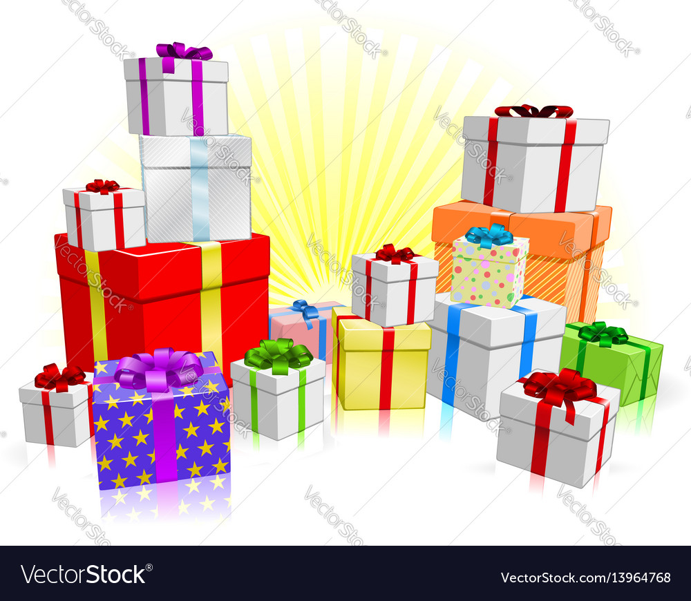 Many gifts concept vector image