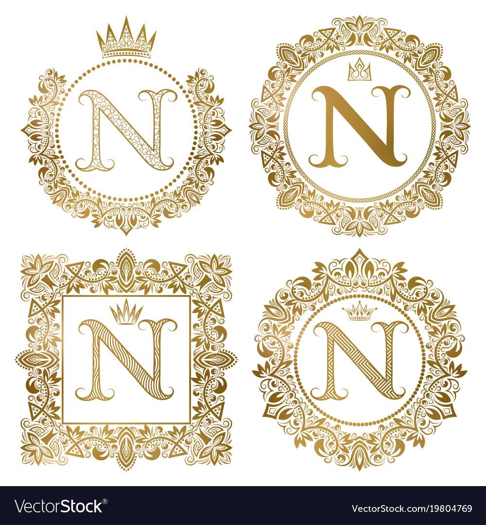 Golden letter n vintage monograms set heraldic vector image