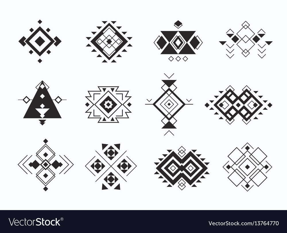 Set of ethno tribal aztec symbols geometric vector image