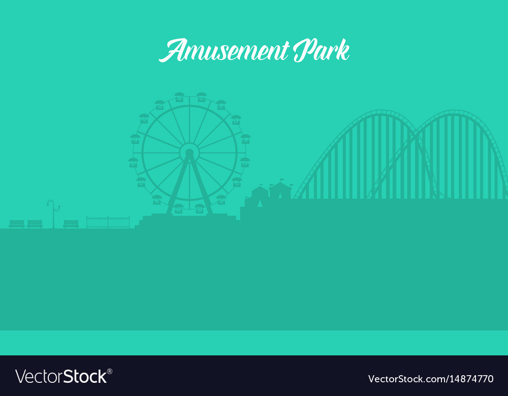 Silhouette of amusement park landscape vector image