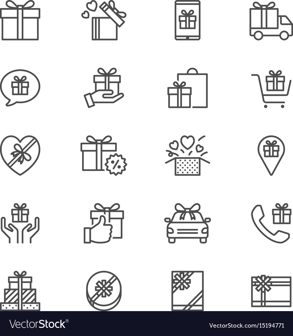 Gift thin icons vector image