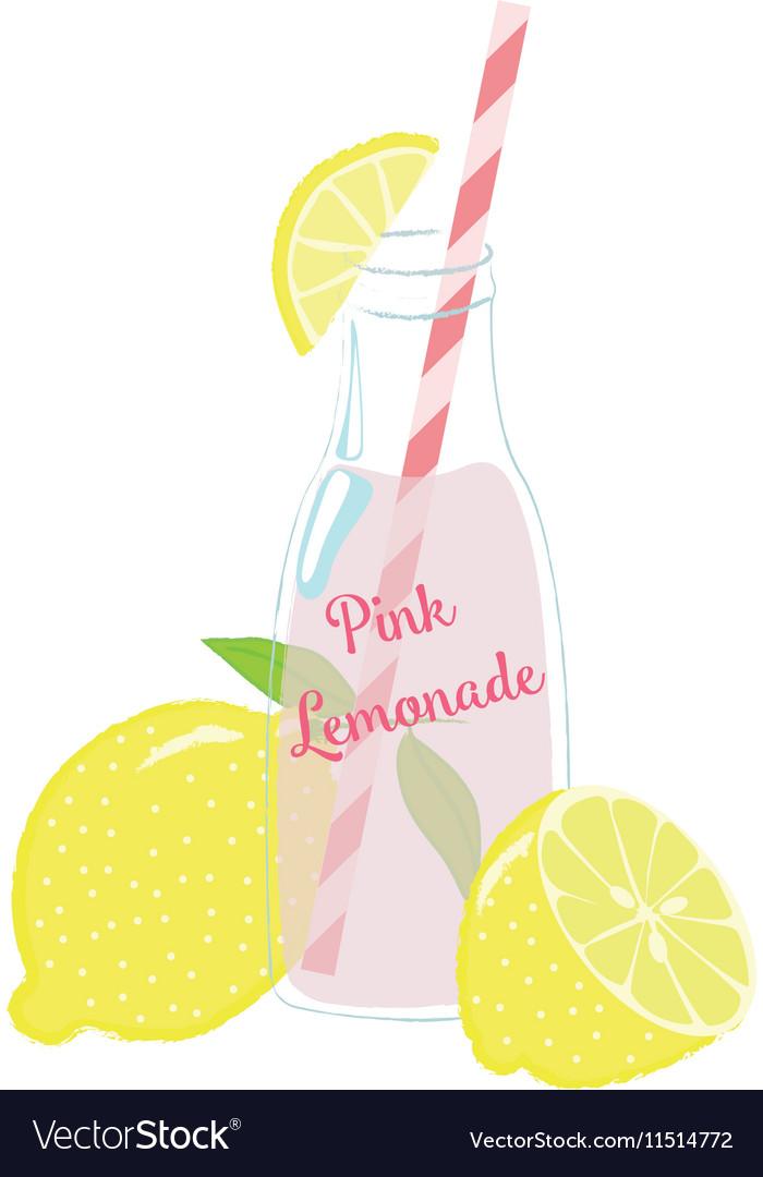 Bottle of Pink Lemonade with Lemons vector image