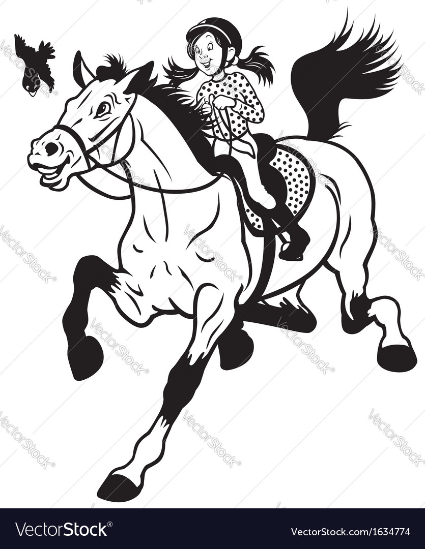 Cartoon girl riding horse black white vector image