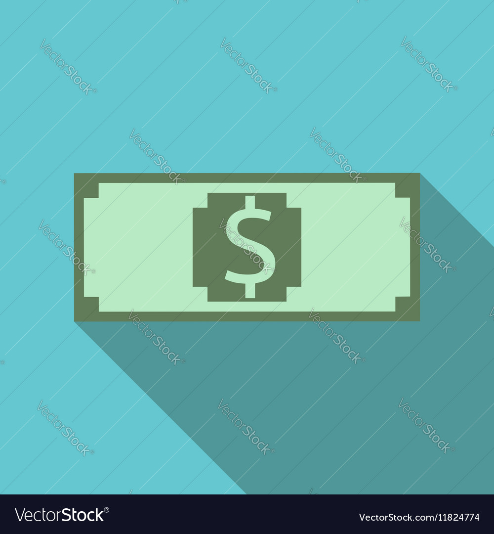 Paper dollar long shadow vector image