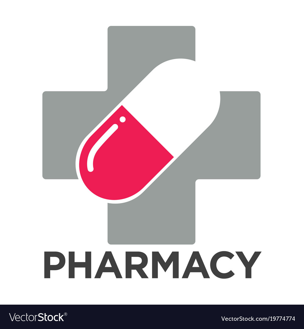 Pharmacy or drugstore cross and pill vector image