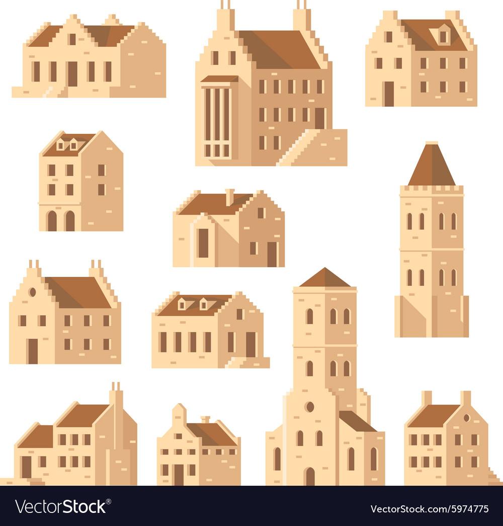 Europe buildings set flat design vector image