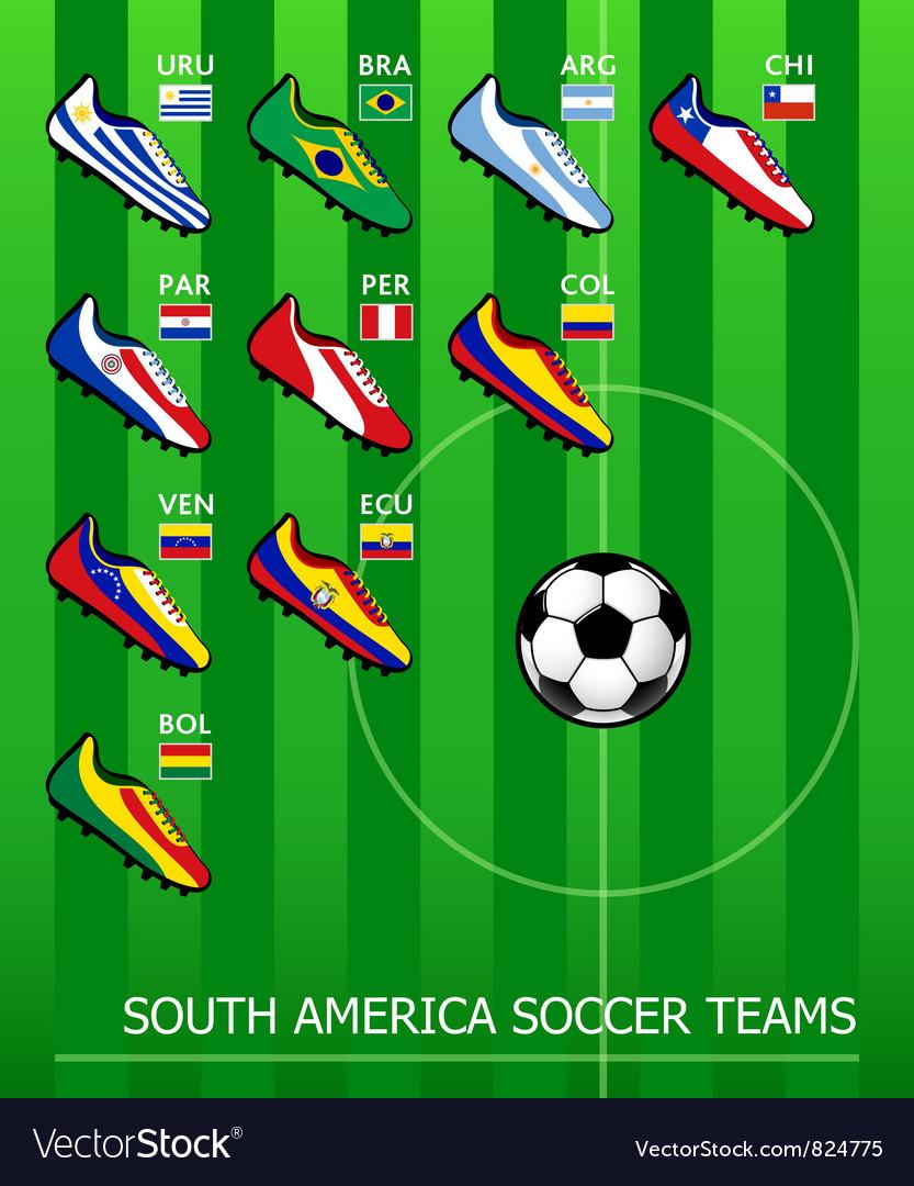 South American soccer teams vector image
