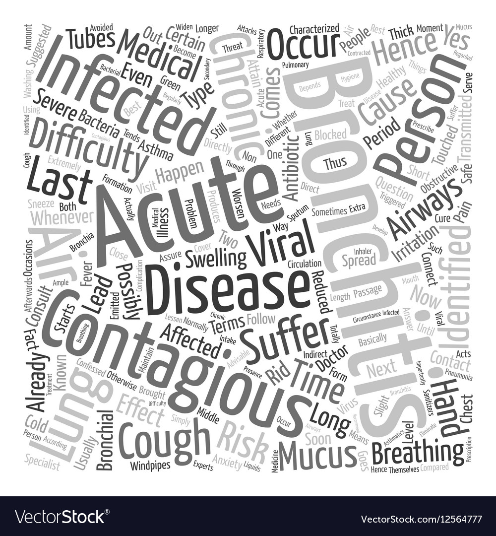 How long is bronchitis contagious text background vector image