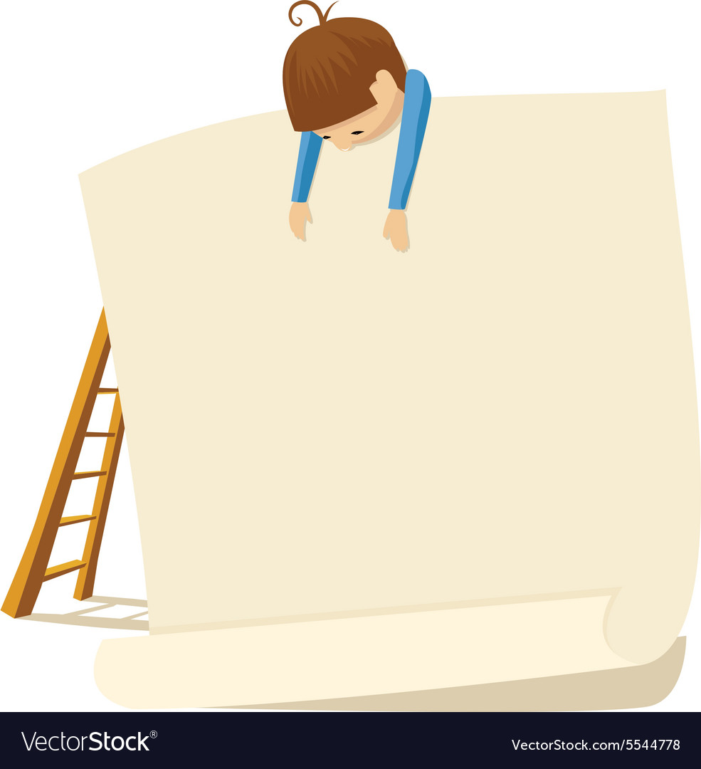 Boy and poster vector image