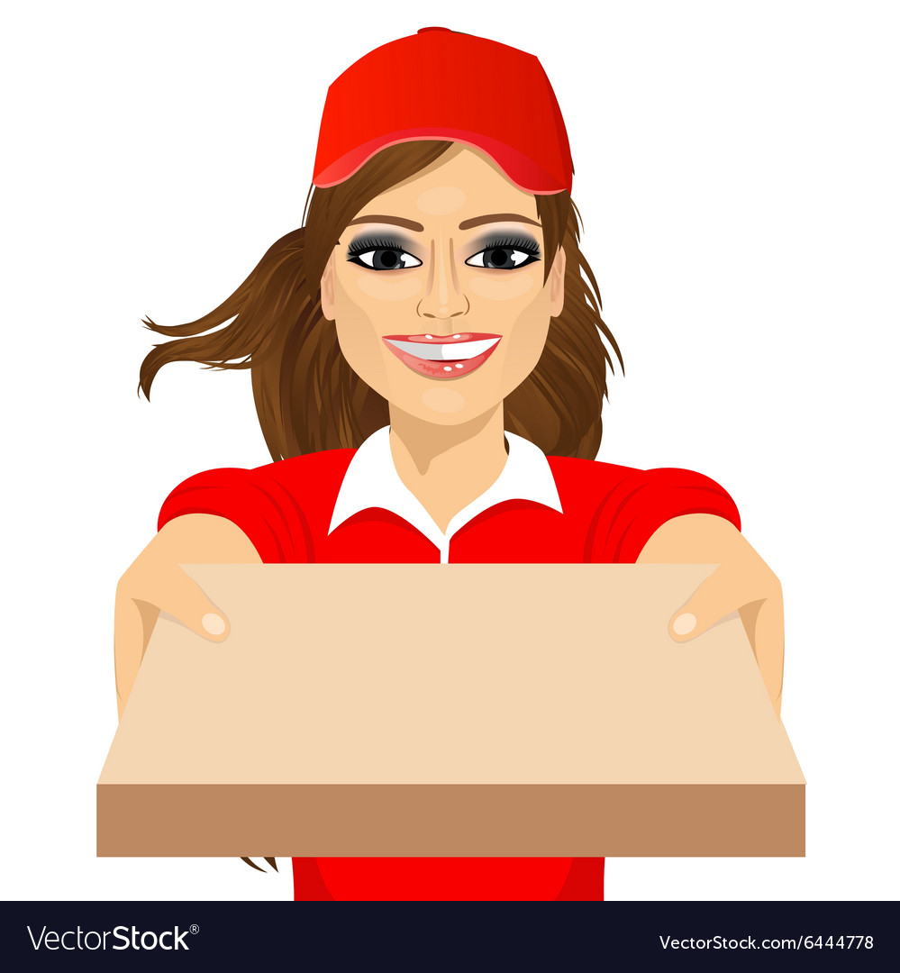 Happy young pizza delivery girl vector image
