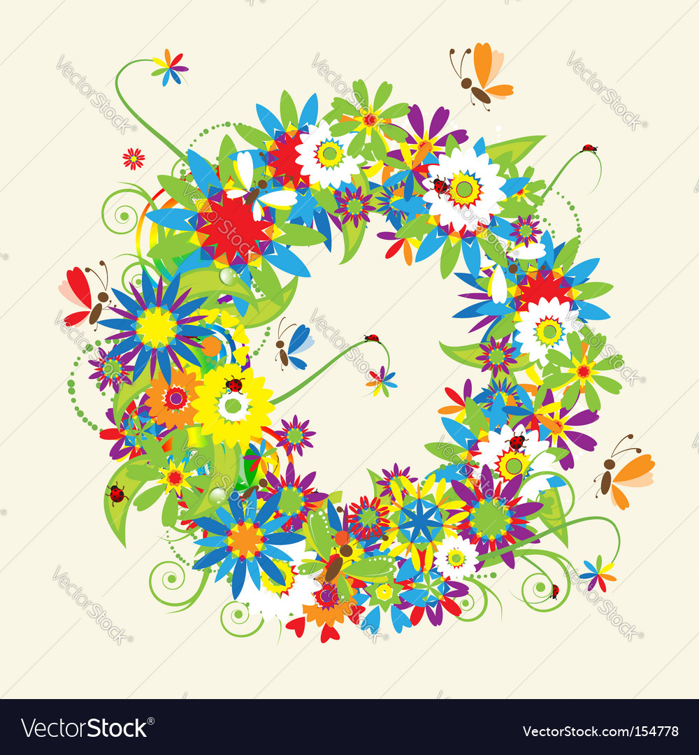 Green floral design vector graphic free vector graphics all free - Letter O Floral Design Vector Image