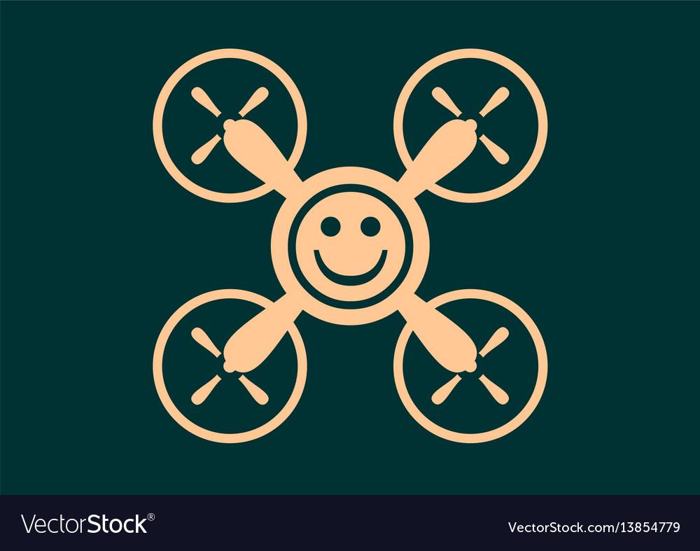 Drone quadrocopter icon smiley symbol vector image