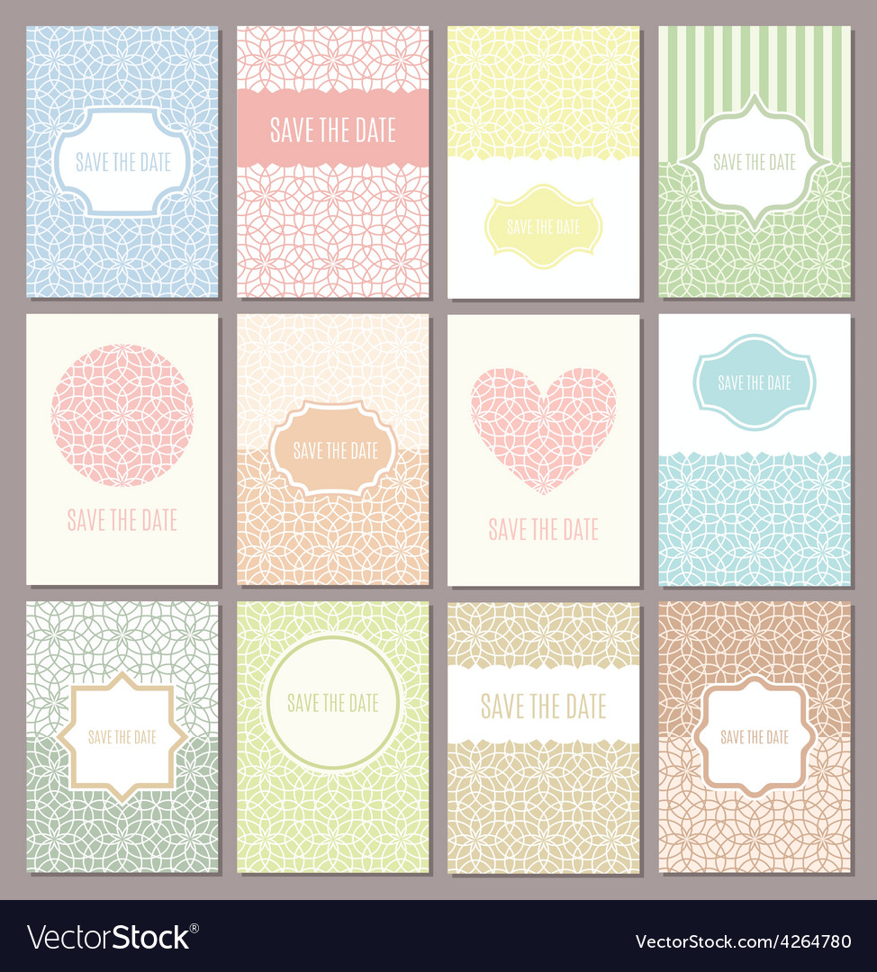 Wedding invitations set vector image