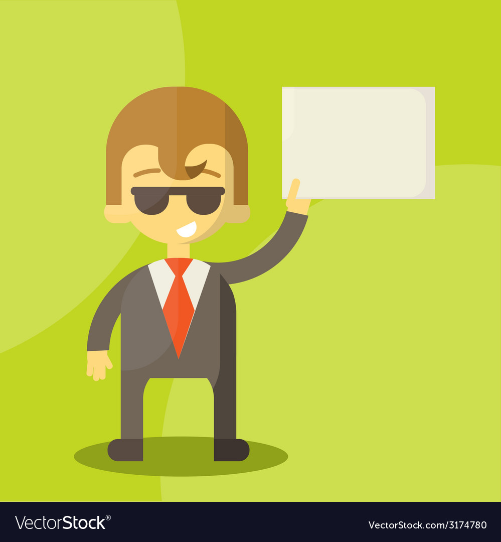 Funny cartoon manager in various poses vector image