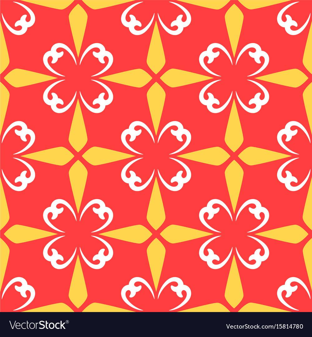 Red arabic ornamental ceramic tile vector image