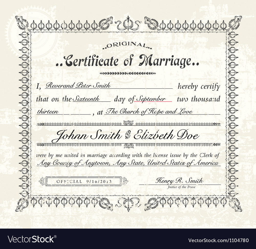 Vintage marriage certificate Royalty Free Vector Image – Marriage Certificate