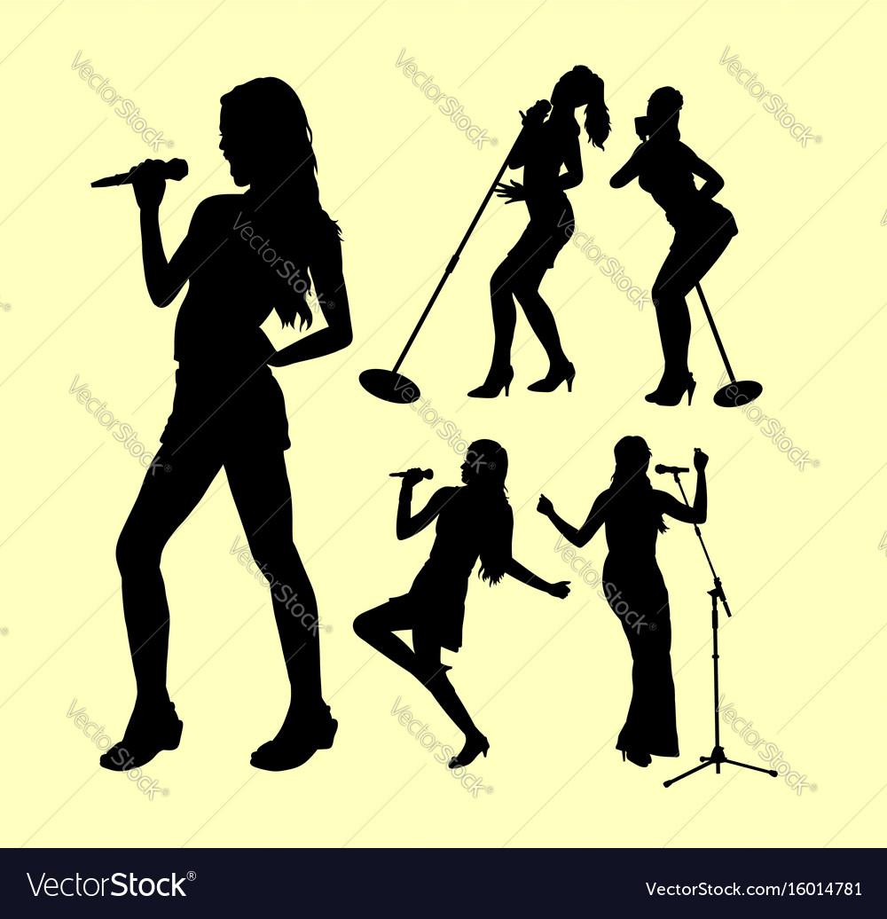 Female singing silhouette vector image