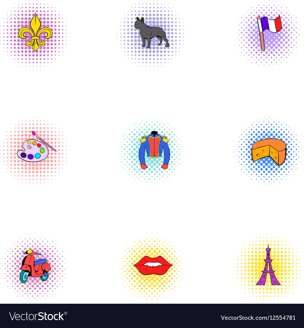 France icons set pop-art style vector image