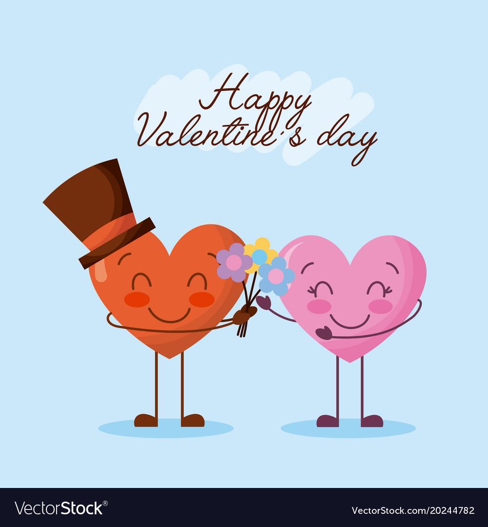 Happy valentines day cute couple cartoon hearts vector image voltagebd Choice Image