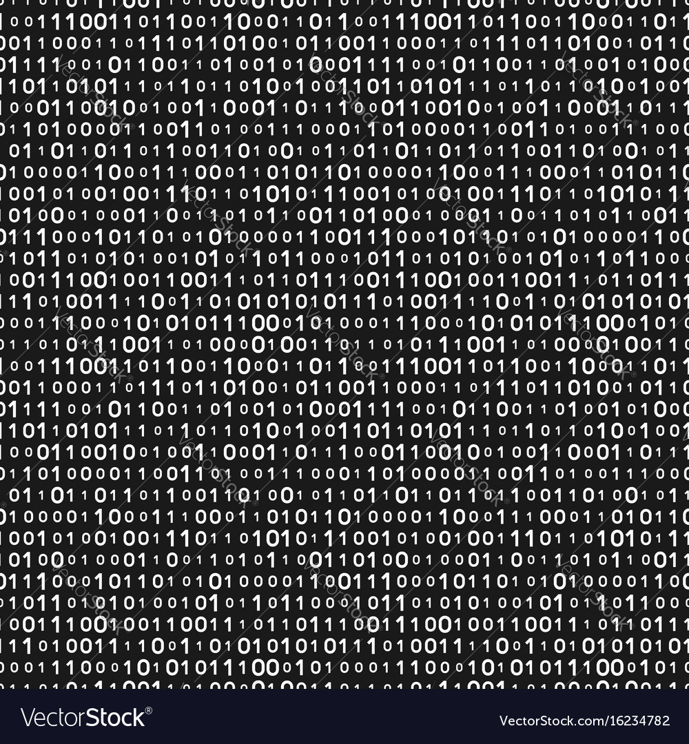 Monochrome binary code seamless pattern vector image
