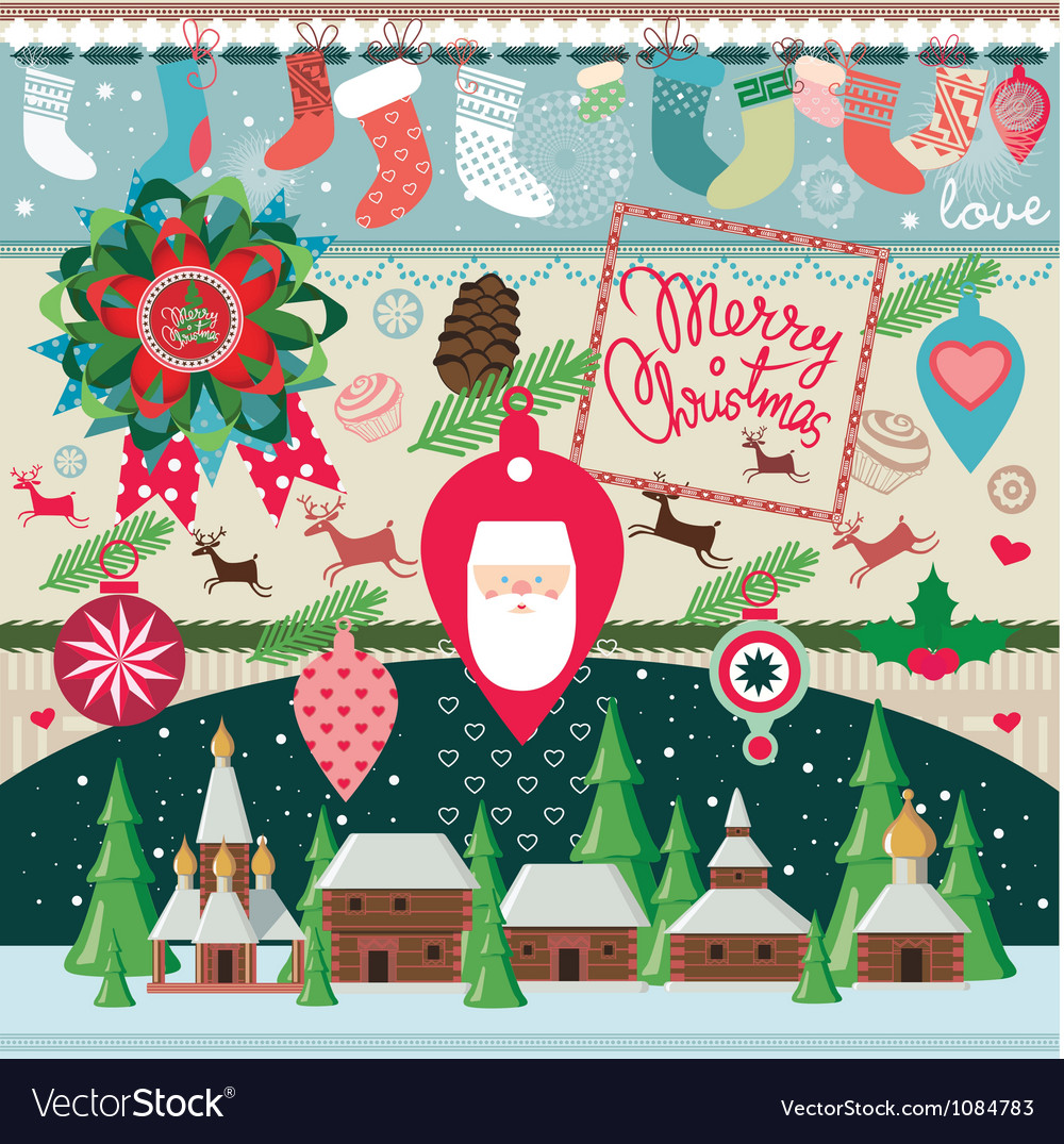 Big set of elements for Christmas Vector Image