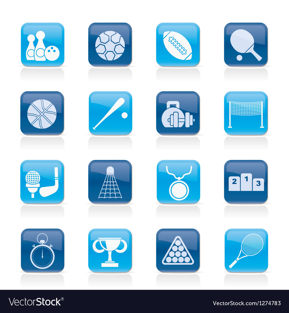 Sport equipment icons Vector Image