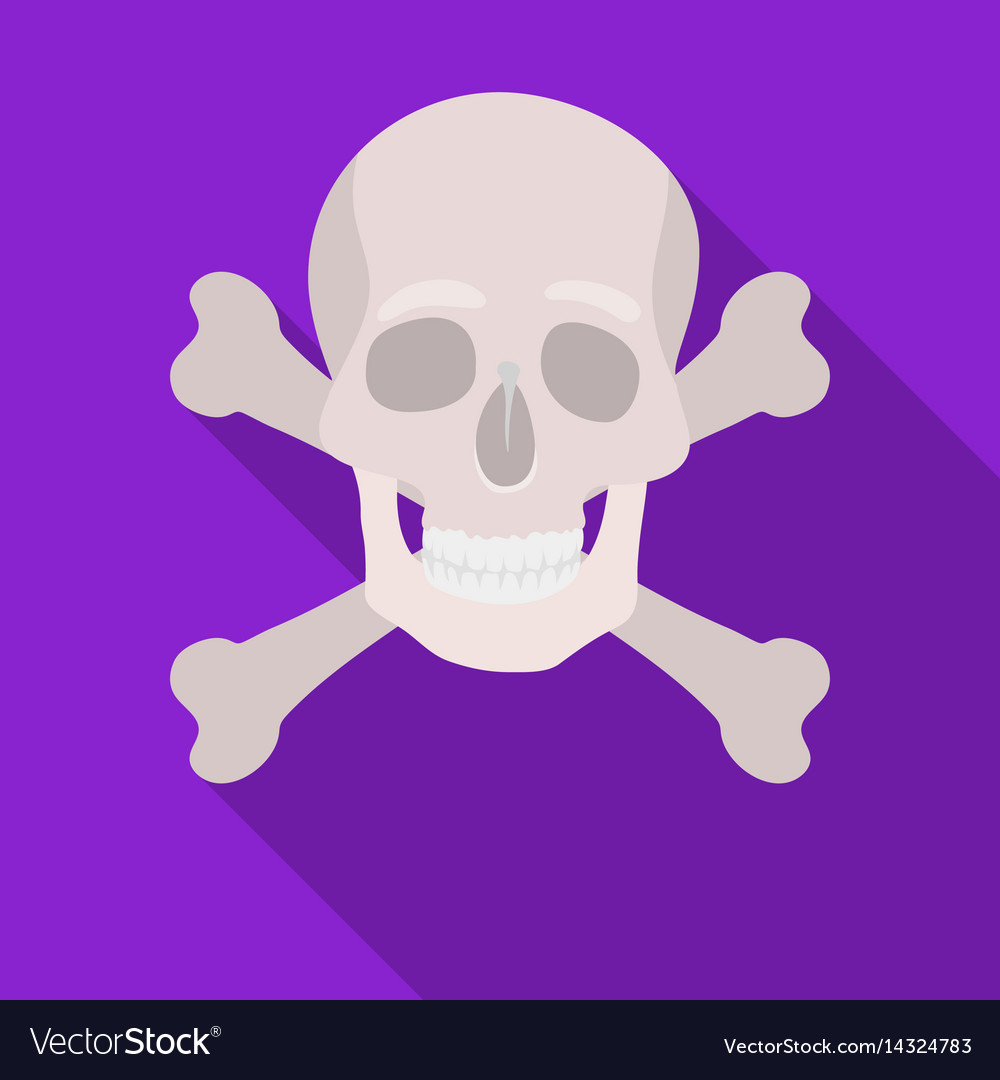 Pirate skull and crossbones icon in flat style vector image