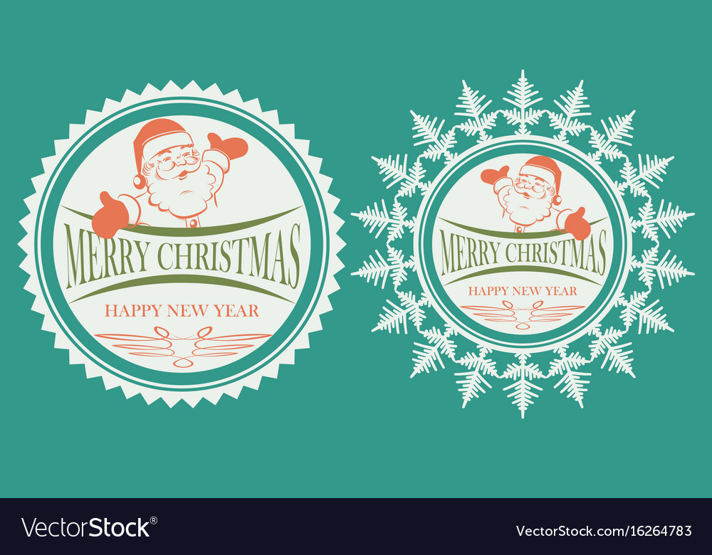 Sign with a silhouette of santa claus set vector image