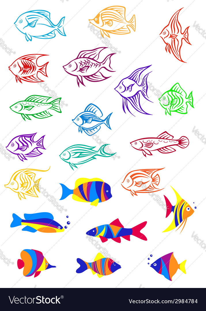 Colorful cartoon underwater fishes vector image