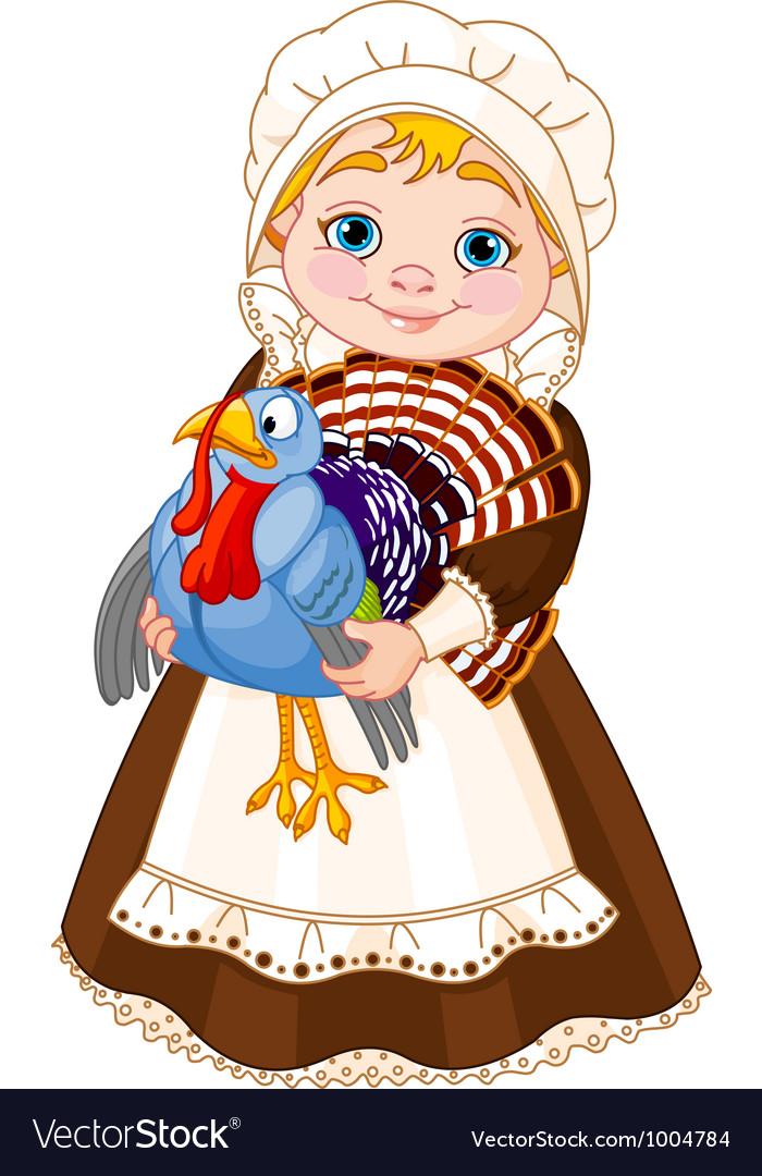 Pilgrim lady with turkey vector image