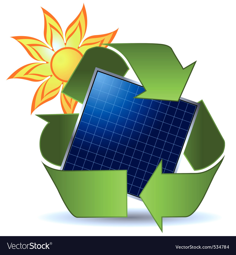 Sun recycle symbol and solar panel over white back vector image