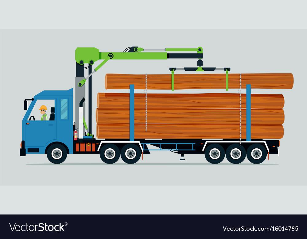 Log truck vector image